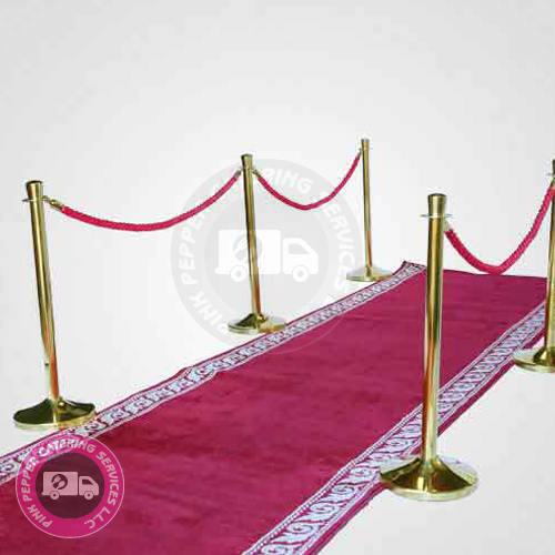 Red Carpet with Poles and Ropes